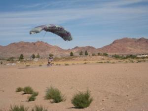 Anne sliding in for a landing.