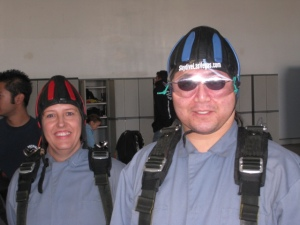Anne and Jeff suited up and ready to go.