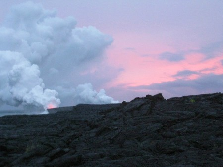 Sunset Over Kilauea's Lava Flow