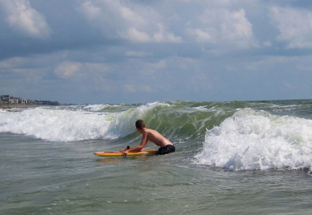 Bodyboarding at Pawleys Island